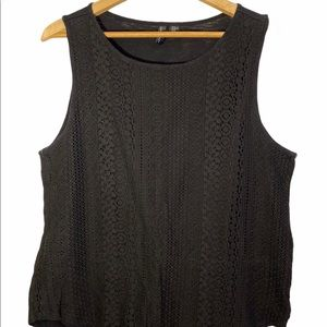 Cynthia Rowley | Lace Overlay Tank Top | Size XL